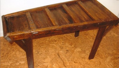Sorting Table made from an antique wooden dolly. Through mortise and tenon joinery.