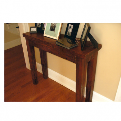 Console table made from reclaimed wood.