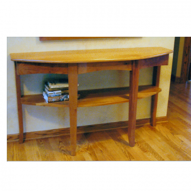 Console table with shelf. Hidden drawer in table. Cherry Wood.