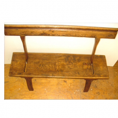 English Ferry Bench with reversible back support. Made from aged oak, hard pine and white pine.