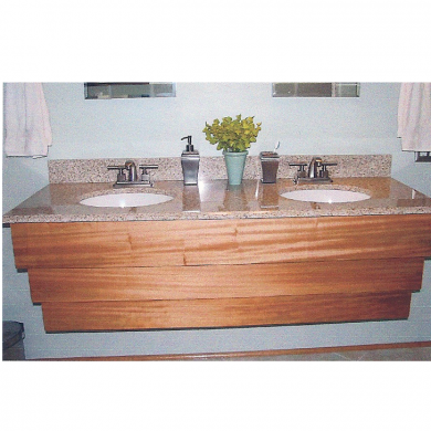 Custom made floating vanity wooden base. Made of out mahogany wood.