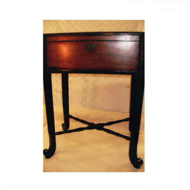 Beaded Rosewood table pet damaged. Restored damaged wood and beading. Applied new veneer and beading as needed. Restored antique finish.